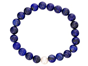8-9mm White Cultured Freshwater Pearl And Lapis Stretch Bracelet