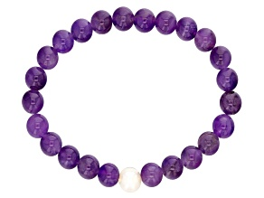 8-9mm White Cultured Freshwater Pearl And Amethyst Stretch Bracelet