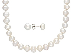 6.5-7mm Cultured Freshwater Pearl Rhodium Over Silver 18 Inch Necklace & Stud Earrings Set
