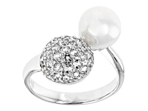 8-9mm White Cultured Freshwater Pearl and White Topaz Rhodium Over Sterling Silver Ring