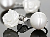 8-9mm White Cultured Freshwater Pearl & 10mm White Mother-Of-Pearl Rhodium Over Silver Earrings