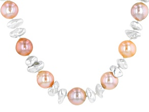 10-13mm White Cultured Keshi & Multi-color  Cultured Freshwater Pearl Rhodium Over Silver Necklace