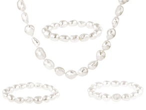 7.5-8.5mm White Cultured Freshwater Pearl Endless 64 Inch Strand Necklace & 3 Stretch Bracelet Set