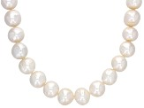 Genusis(TM) 9-10.5mm White Cultured Freshwater Pearl Rhodium Over Silver 24 Inch Strand Necklace