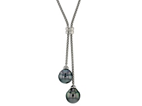 9mm Cultured Tahitian Pearl, Rhodium Over Sterling Silver 18 Inch Necklace