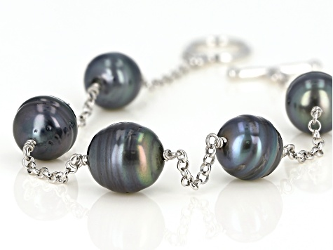 9-10mm Cultured Tahitian Pearl, Rhodium Over Sterling Silver 7.25 Inch Bracelet
