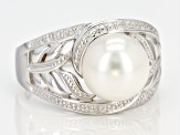 9-10mm White Cultured Freshwater Pearl, Rhodium Over Sterling Silver Ring