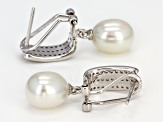 8-9mm White Cultured Freshwater pearl & Cubic Zirconia Rhodium Over Silver Earrings