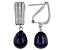 8-9mm Black Cultured Freshwater Pearl & Cubic Zirconia Rhodium Over Silver Earrings
