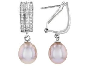 8-9mm Pink Cultured Freshwater Pearl & Cubic Zirconia Rhodium Over Silver Earrings