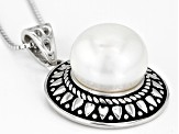 11mm White Cultured Freshwater Pearl, Rhodium Over Sterling Silver Pendant With Chain