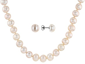9-11mm White Cultured Freshwater Pearl, Rhodium Over Silver 20 Inch Necklace & Stud Earrings Set