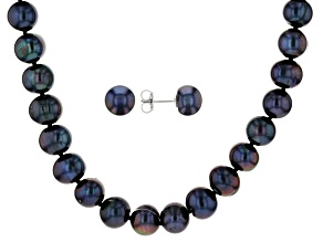 9-11mm Black Cultured Freshwater Pearl, Rhodium Over Silver 20 Inch Necklace & Stud Earrings Set