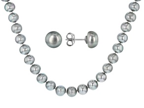 9-11mm Silver Cultured Freshwater Pearl, Rhodium Over Silver 20 Inch Necklace & Stud Earrings Set