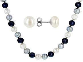 Multi-Color Cultured Freshwater Pearl Rhodium Over Silver 20 Inch Necklace Stud Earrings Set