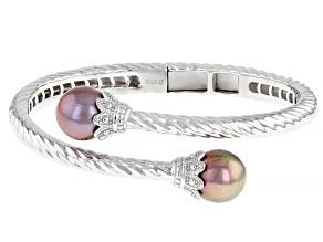 10.5mm Pink & Purple Cultured Kasumiga Pearl Rhodium Over Sterling Silver Bangle Bracelet