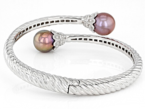 10.5mm Pink & Purple Cultured Kasumiga Pearl Rhodium Over Sterling Silver Bangle Bracelet