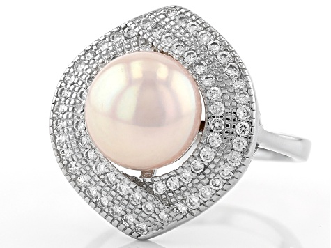 10-11mm Peach Cultured Kasumiga Pearl & Bella Luce(TM) Diamond Simulant Rhodium Over Silver Ring