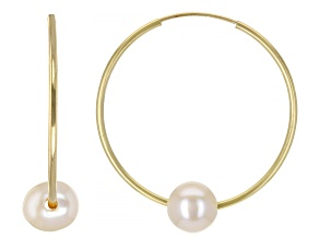 6-7mm White Cultured Freshwater Pearl 14k Yellow gold Hoop Earrings
