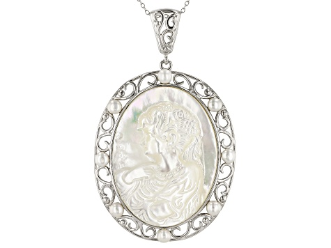 White Mother-Of-Pearl & Cultured Freshwater Pearl, Rhodium Over Silver Cameo Pendant With Chain