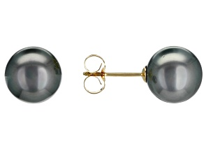8mm Cultured Tahitian Pearl, 14k Yellow Gold Stud Earrings