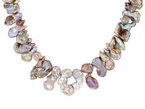 14mm Cultured Keshi Freshwater Pearl Rhodium Over Silver 18 Inch Necklace With 2 inch Extender