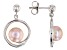 7.5-8mm Pink Cultured Freshwater Pearl, Rhodium Over Sterling Silver Earrings