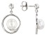 7.5-8mm White Cultured Freshwater Pearl, Rhodium Over Sterling Silver Earrings