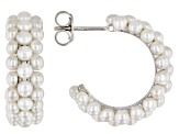 2.5-3mm White Cultured Freshwater Pearl, Rhodium Over Sterling Silver Hoop Earrings