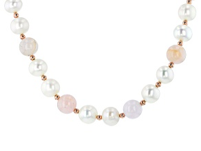 9.5-10mm White Cultured Freshwater Pearl & Morganite 18k Rose Gold Over Silver 18 Inch Necklace