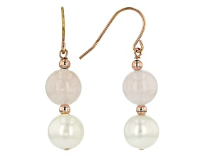 9.5-10mm White Cultured Freshwater Pearl & Morganite, 18k Rose Gold Over Silver Earrings
