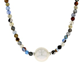 12MM Cultured Freshwater Pearl & Multi-Color Agate Rhodium Over Silver 18 Inch Necklace