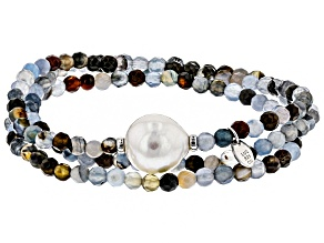 12mm Cultured Freshwater Pearl & Agate Rhodium Over Silver Bead Stretch Bracelet Set Of 3