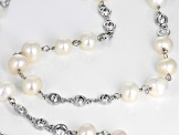 9-11mm Cultured Freshwater Pearl & Bella Luce(TM) Diamond Simulant Rhodium Over Silver Necklace