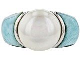 12mm White Cultured Freshwater Pearl & Larimar Rhodium Over Sterling Silver Ring