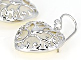 16-18mm White Mother-Of-Pearl, Rhodium Over Sterling Silver Heart Earrings
