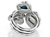 10.5-11mm White Cultured Freshwater Pearl & Turquoise, Rhodium Over Sterling Silver Ring