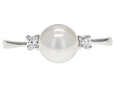7-8mm White Cultured Japanese Akoya Pearl & White Zircon Rhodium Over Sterling Silver Ring