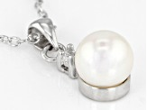 6-7mm White Cultured Japanese Akoya Pearl & White Zircon Rhodium Over Silver Pendant With Chain