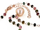 12-12.5mm Pink Cultured Freshwater Pearl & Tourmaline 18k Rose Gold Over Silver 18 Inch Necklace