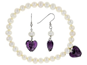 6-7mm Cultured Freshwater Pearl & Glass heart Rhodium Over Silver Stretch Bracelet & Earrings Set