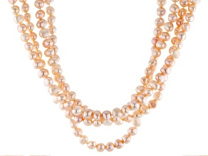 7-7.5mm Peach Cultured Freshwater Pearl Rhodium Over Sterling Silver 18 Inch Multi-Strand Necklace