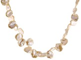 13-15mm Peach Cultured Keshi Freshwater Pearl Rhodium Over Sterling Silver 18 Inch Necklace
