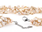 6-8mm Peach Cultured Keshi Freshwater Pearl Rhodium Over Sterling Silver 18 Inch Necklace