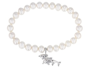 7-7.5mm White Cultured Freshwater Pearl, Rhodium Over Silver Stretch Bracelet With Dolphin Charm