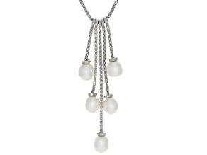7-7.5mm White Cultured Freshwater Pearl, Rhodium Over Sterling Silver Popcorn 18 Inch Necklace