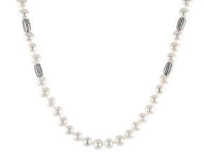 8-9mm Cultured Freshwater Pearl & Bella Luce(R) Diamond Simulant Rhodium Over Silver Necklace
