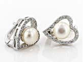 7-8mm Cultured Freshwater Pearl & Bella Luce(R) Diamond Simulant Rhodium Over Silver Earrings