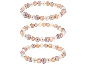 7-7.5mm Multi-Color Cultured Freshwater Pearl Stretch Bracelet set of 3