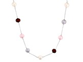 10.5-11.5mm Multi-Color Cultured Freshwater Pearl Rhodium Over Sterling Silver 36 Inch Necklace